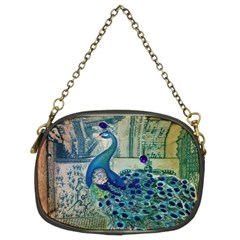 French Scripts Vintage Peacock Floral Paris Decor Chain Purse (Two Sided)