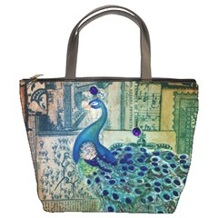 French Scripts Vintage Peacock Floral Paris Decor Bucket Bag