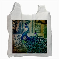 French Scripts Vintage Peacock Floral Paris Decor Recycle Bag (Two Sides)