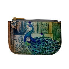 French Scripts Vintage Peacock Floral Paris Decor Coin Change Purse