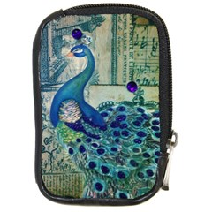 French Scripts Vintage Peacock Floral Paris Decor Compact Camera Leather Case