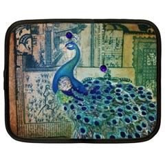 French Scripts Vintage Peacock Floral Paris Decor Netbook Case (xl)