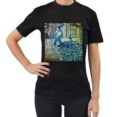 French Scripts Vintage Peacock Floral Paris Decor Womens' T Shirt (black)