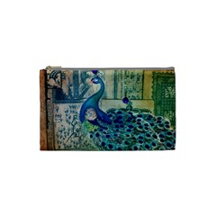 French Scripts Vintage Peacock Floral Paris Decor Cosmetic Bag (Small)