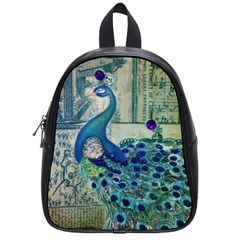 French Scripts Vintage Peacock Floral Paris Decor School Bag (Small)