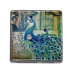 French Scripts Vintage Peacock Floral Paris Decor Memory Card Reader with Storage (Square)