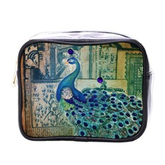 French Scripts Vintage Peacock Floral Paris Decor Mini Travel Toiletry Bag (One Side)