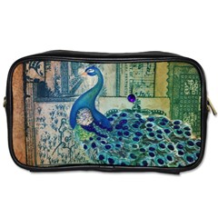 French Scripts Vintage Peacock Floral Paris Decor Travel Toiletry Bag (Two Sides)