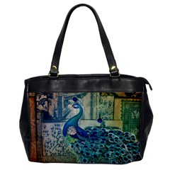 French Scripts Vintage Peacock Floral Paris Decor Oversize Office Handbag (one Side)