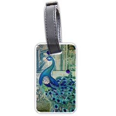 French Scripts Vintage Peacock Floral Paris Decor Luggage Tag (One Side)
