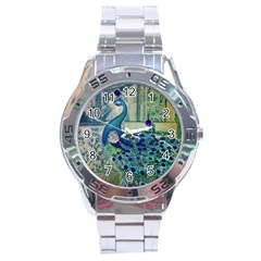 French Scripts Vintage Peacock Floral Paris Decor Stainless Steel Watch (Men s)