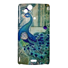 French Scripts Vintage Peacock Floral Paris Decor Sony Xperia Arc Hardshell Case
