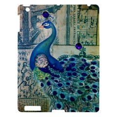 French Scripts Vintage Peacock Floral Paris Decor Apple iPad 3/4 Hardshell Case