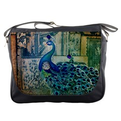 French Scripts Vintage Peacock Floral Paris Decor Messenger Bag