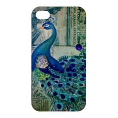 French Scripts Vintage Peacock Floral Paris Decor Apple iPhone 4/4S Premium Hardshell Case
