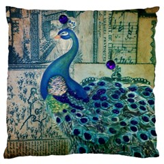French Scripts Vintage Peacock Floral Paris Decor Large Cushion Case (Two Sided)
