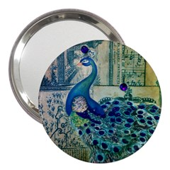 French Scripts Vintage Peacock Floral Paris Decor 3  Handbag Mirror