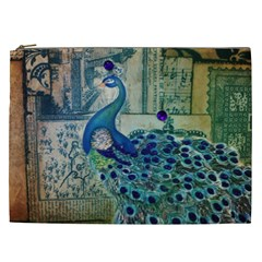 French Scripts Vintage Peacock Floral Paris Decor Cosmetic Bag (XXL)