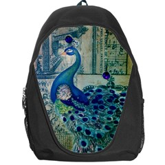 French Scripts Vintage Peacock Floral Paris Decor Backpack Bag