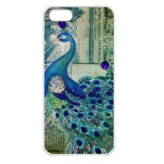 French Scripts Vintage Peacock Floral Paris Decor Apple Iphone 5 Seamless Case (white)