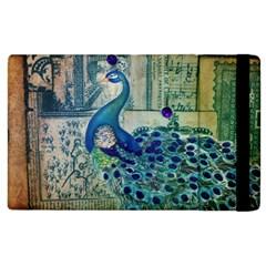 French Scripts Vintage Peacock Floral Paris Decor Apple iPad 2 Flip Case