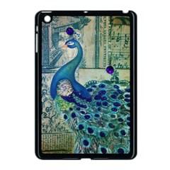 French Scripts Vintage Peacock Floral Paris Decor Apple iPad Mini Case (Black)