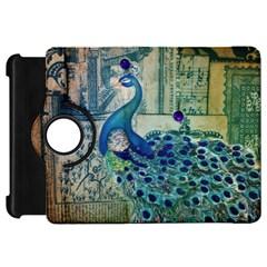 French Scripts Vintage Peacock Floral Paris Decor Kindle Fire Hd 7  Flip 360 Case