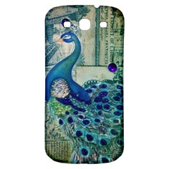 French Scripts Vintage Peacock Floral Paris Decor Samsung Galaxy S3 S Iii Classic Hardshell Back Case