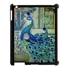 French Scripts Vintage Peacock Floral Paris Decor Apple iPad 3/4 Case (Black)