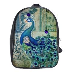 French Scripts Vintage Peacock Floral Paris Decor School Bag (xl)