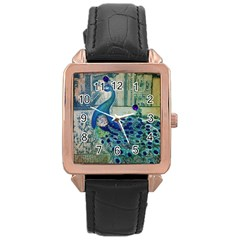 French Scripts Vintage Peacock Floral Paris Decor Rose Gold Leather Watch