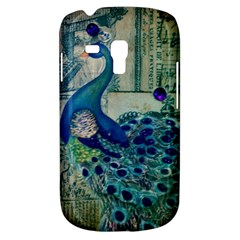 French Scripts Vintage Peacock Floral Paris Decor Samsung Galaxy S3 MINI I8190 Hardshell Case