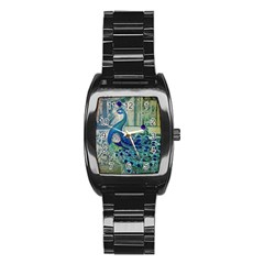 French Scripts Vintage Peacock Floral Paris Decor Men s Stainless Steel Barrel Analog Watch