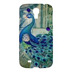 French Scripts Vintage Peacock Floral Paris Decor Samsung Galaxy S4 I9500/I9505 Hardshell Case