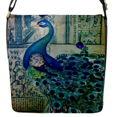 French Scripts Vintage Peacock Floral Paris Decor Flap closure messenger bag (Small)