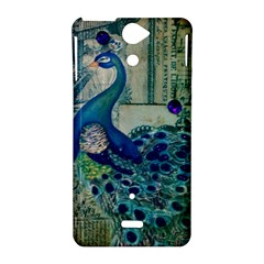 French Scripts Vintage Peacock Floral Paris Decor Sony Xperia V Hardshell Case