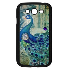 French Scripts Vintage Peacock Floral Paris Decor Samsung I9082(Galaxy Grand DUOS)(Black)