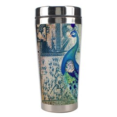 French Scripts Vintage Peacock Floral Paris Decor Stainless Steel Travel Tumbler