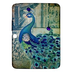 French Scripts Vintage Peacock Floral Paris Decor Samsung Galaxy Tab 3 (10.1 ) P5200 Hardshell Case
