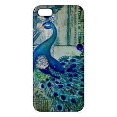French Scripts Vintage Peacock Floral Paris Decor iPhone 5S Premium Hardshell Case