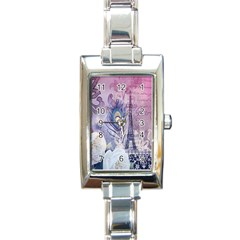 Peacock Feather White Rose Paris Eiffel Tower Rectangular Italian Charm Watch