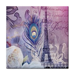 Peacock Feather White Rose Paris Eiffel Tower Ceramic Tile