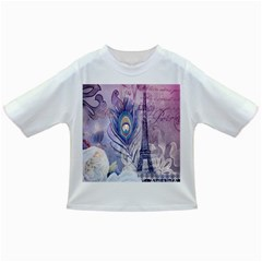 Peacock Feather White Rose Paris Eiffel Tower Baby T-shirt