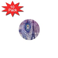 Peacock Feather White Rose Paris Eiffel Tower 1  Mini Button (10 Pack)