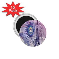 Peacock Feather White Rose Paris Eiffel Tower 1.75  Button Magnet (10 pack)