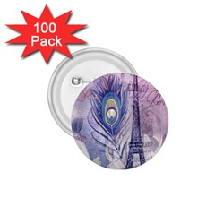Peacock Feather White Rose Paris Eiffel Tower 1.75  Button (100 pack)