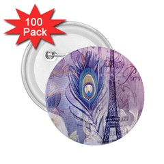Peacock Feather White Rose Paris Eiffel Tower 2.25  Button (100 pack)