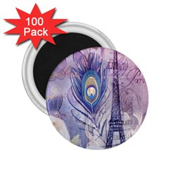 Peacock Feather White Rose Paris Eiffel Tower 2.25  Button Magnet (100 pack)