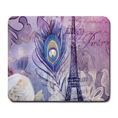 Peacock Feather White Rose Paris Eiffel Tower Large Mouse Pad (rectangle)