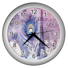 Peacock Feather White Rose Paris Eiffel Tower Wall Clock (Silver)